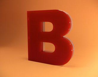 Объёмные буквы в виде комбинации акрилового стекла
