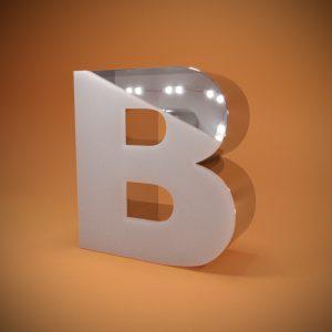 Световые объёмные буквы из нержавеющей стали со светорассеивающим цветным акрилом в разрезе