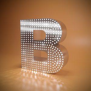 Объемные буквы из нержавеющей стали перфорированные с подсветкой